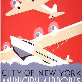 Studio Grafiikka - New York City Municipal Airports - Vintage Illustrated Poster