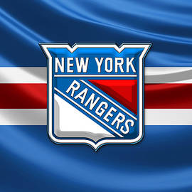 New York Rangers - 3D Badge Over Flag