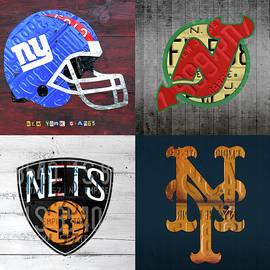 New York Sports Team License Plate Art Collage Giants Devils Nets Mets V3  - Design Turnpike