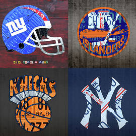 New York Sports Team License Plate Art Collage Giants Islanders Knicks Yankees - Design Turnpike