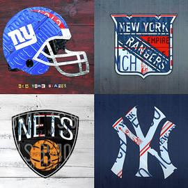 Design Turnpike - New York Sports Team License Plate Art Giants Rangers Nets Yankees V4