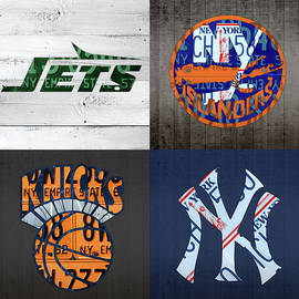 Design Turnpike - New York Sports Team Logo License Plate Art Jets Islanders Knicks Yankees V5