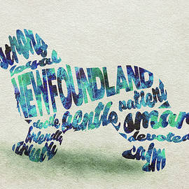 Newfoundland Dog Watercolor Painting / Typographic Art - Ayse and Deniz