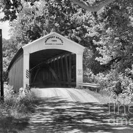 Newport Covered Bridge In The Forest Black And White by Adam Jewell