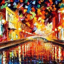 Night Bridge - PALETTE KNIFE Oil Painting On Canvas By Leonid Afremov by Leonid Afremov