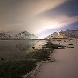 Night In Flakstad Beach, Lofoten, Nordland by Dubi Roman