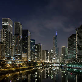 Nighttime Chicago River and Skyline view