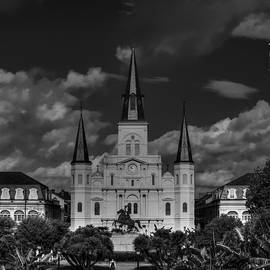 Nola - St. Louis Cathedral 001 Bw by Lance Vaughn