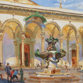 Noon in the square of St. Annunziata - Victoria Kharchenko