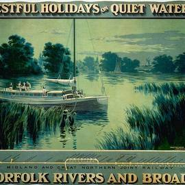 Studio Grafiikka - Norfolk Rivers and Broads - Vintage Illustrated Poster of a Boat in the waters