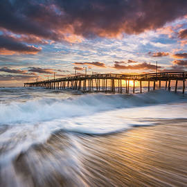 Dave Allen - North Carolina Outer Banks Seascape Nags Head Pier OBX NC