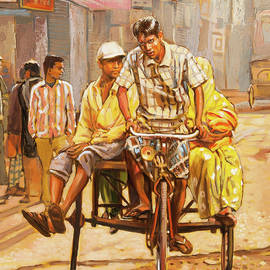 North India Street Scene  Detail View by Dominique Amendola