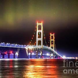Northern Lights Over Mackinac Bridge -5445 by Norris Seward