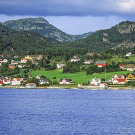 Norwegian Fjord Village Scene by Sally Weigand