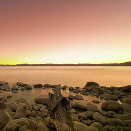 Brian Ball - Not So Secret Cove at Lake Tahoe During Sunset on the Beach with Rocks, Reflections and Fallen Tree