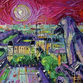 Mona Edulesco - NOTRE DAME DE PARIS GARGOYLE Textural Impressionist Stylized Cityscape