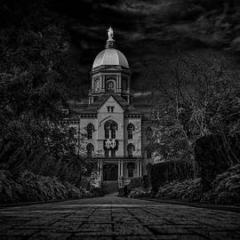 Notre Dame University Golden Dome Bw by David Haskett II