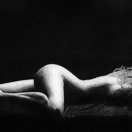 Nude Beautiful Woman in the Evening Drawing by James Schultz