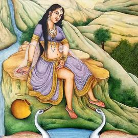 Ravi sharma - Nude Queen Bathing In The River Crane Indian miniature Watercolor Painting Baba Ramdeva
