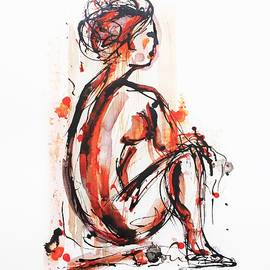 Nude Woman - Ink On Paper by Cristina Stefan