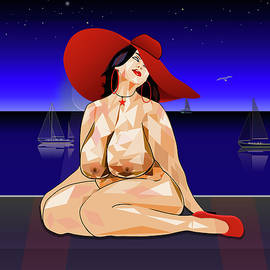 Nude Woman With Hat by Ethos Lambousa