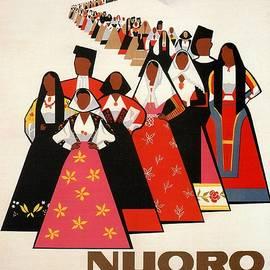 Studio Grafiikka - Nuoro Sardinia, Italy - Vintage Illustrated Poster of the people in Traditional Costumes