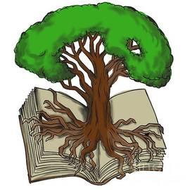 Aloysius Patrimonio - Oak Tree Roots on Book Tattoo