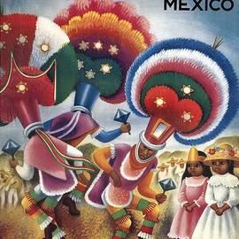 Oaxaca, Mexico - Mexicans Dancing in Ceremonial Dress - Retro travel Poster - Vintage Poster - Studio Grafiikka