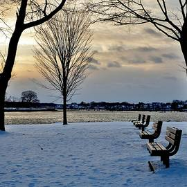 Scott Hufford - Obear Park in the Snow at Sunset, Beverly MA