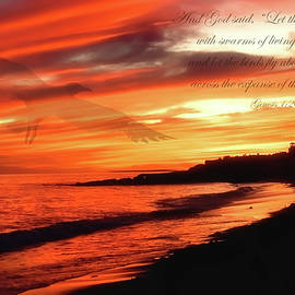 Ocean Sunset Bible Verse by Joann Vitali
