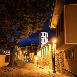Georgia Mizuleva - Of Cobblestone Streets and Bell Towers - Yellow Lit Night in Old Town Plovdiv Bulgaria