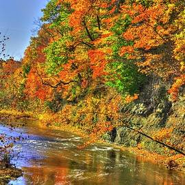 Ohio Country Roads - Autumn Colorfest #2 - Conneaut Creek Downstream from Middle Road Covered Bridge by Michael Mazaika