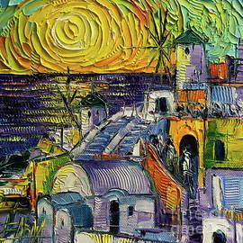 Mona Edulesco - Oia Impression - Modern Impressionist Stylized Cityscape