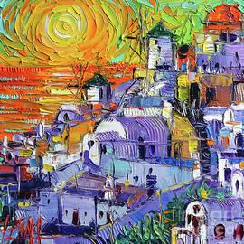 Mona Edulesco - OIA SANTORINI MAGIC LIGHT Mini Cityscape 09 - Modern impressionist Palette Knife Oil Painting