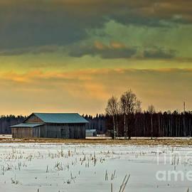 Jukka Heinovirta - Old Barn Houses In The Springtime Sunset