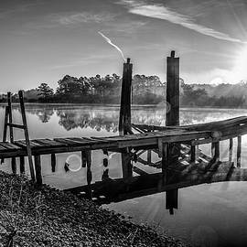 Old Dock On The Bon Secour River Bw by Michael Thomas