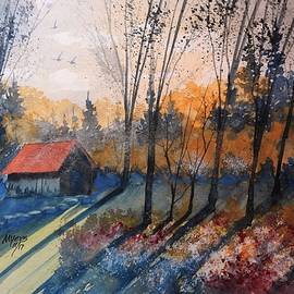 David K Myers - Old Flower Shed Watercolor