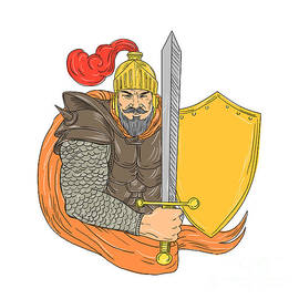 Aloysius Patrimonio - Old Knight Sword Shield Drawing