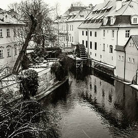 Old Mill. Little Prague Venice. Monochrome