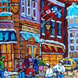 Old Montreal Landmark Bonsecours Winterscene Painting Far Sale Street Hockey C Spandau Quebec Art    by Carole Spandau