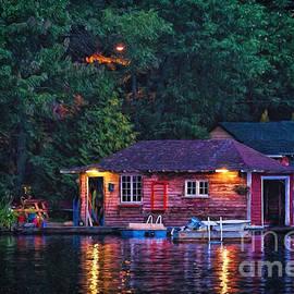 Les Palenik - Old Muskoka boathouse at night