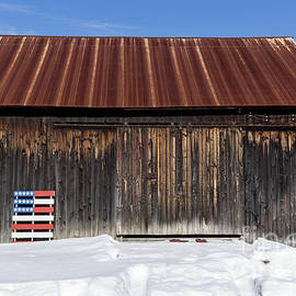 Old New England Barn with American Flag Pallet  - Edward Fielding