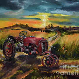Old Red At Sunset - Tractor by Jan Dappen