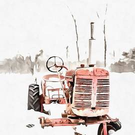 Old Red Tractor in the Snow Painting - Edward Fielding