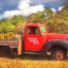 Debra and Dave Vanderlaan - Old Red Truck on the Farm Watercolor Painting