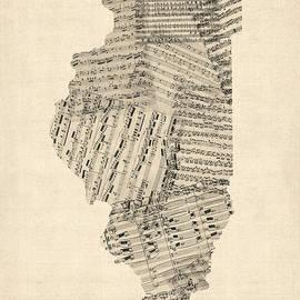 Michael Tompsett - Old Sheet Music Map of Illinois