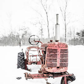Old Vintage Red Tractor in the Snow Quechee Vermont - Edward Fielding