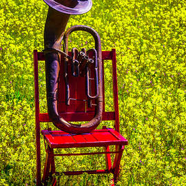 Old Worn Tuba On Red Chair - Garry Gay