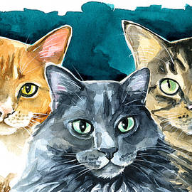 Oliver, Willow and Walter - Cat Painting by Dora Hathazi Mendes