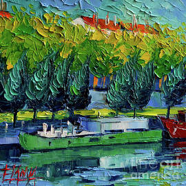 Mona Edulesco - ONE BARGE ON THE RHONE RIVER - impasto palette knife oil painting